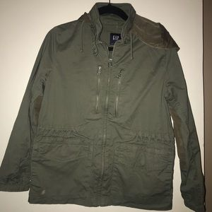 Gap army green cotton jacket with hood